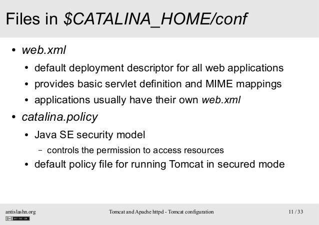 Files in $CATALINA_HOME/conf ●  web.xml ● ●  provides basic servlet definition and MIME mappings  ●  ●  default deployment...