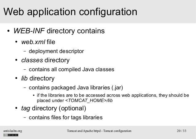 Web application configuration ●  WEB-INF directory contains ●  web.xml file –  ●  classes directory –  ●  deployment descr...