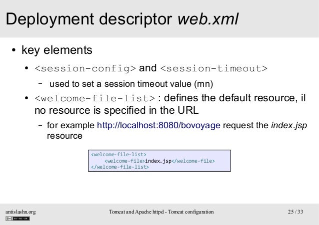 Deployment descriptor web.xml ●  key elements ●  <session-config> and <session-timeout> –  ●  used to set a session timeou...