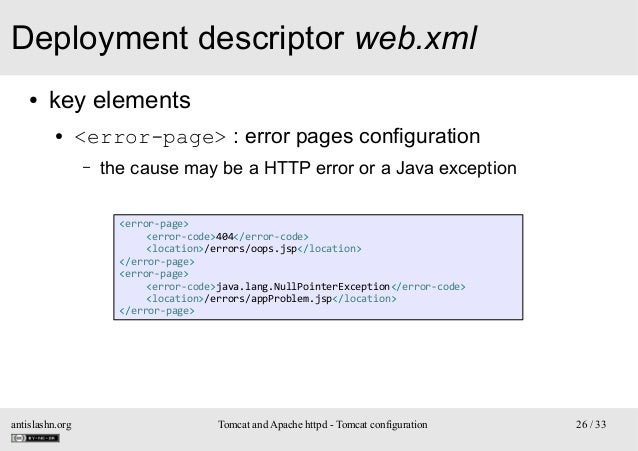Deployment descriptor web.xml ●  key elements ●  <error-page> : error pages configuration –  the cause may be a HTTP error...