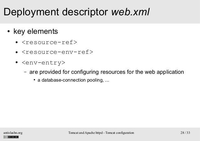Deployment descriptor web.xml ●  key elements ● ● ●  <resource-ref> <resource-env-ref> <env-entry> –  are provided for con...