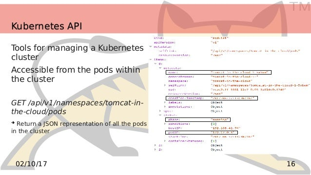 TM 1602/10/17 Kubernetes APIKubernetes API Tools for managing a Kubernetes cluster Accessible from the pods within the clu...