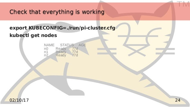 TM 2402/10/17 Check that everything is workingCheck that everything is working export KUBECONFIG=./run/pi-cluster.cfg kube...