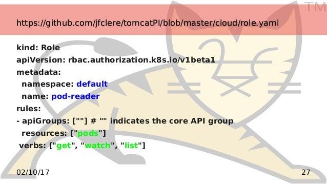 TM 2702/10/17 https://github.com/jfclere/tomcatPI/blob/master/cloud/role.yamlhttps://github.com/jfclere/tomcatPI/blob/mast...
