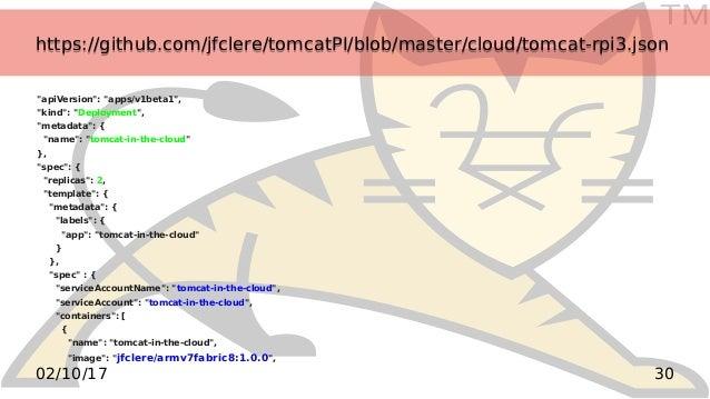 TM 3002/10/17 https://github.com/jfclere/tomcatPI/blob/master/cloud/tomcat-rpi3.jsonhttps://github.com/jfclere/tomcatPI/bl...