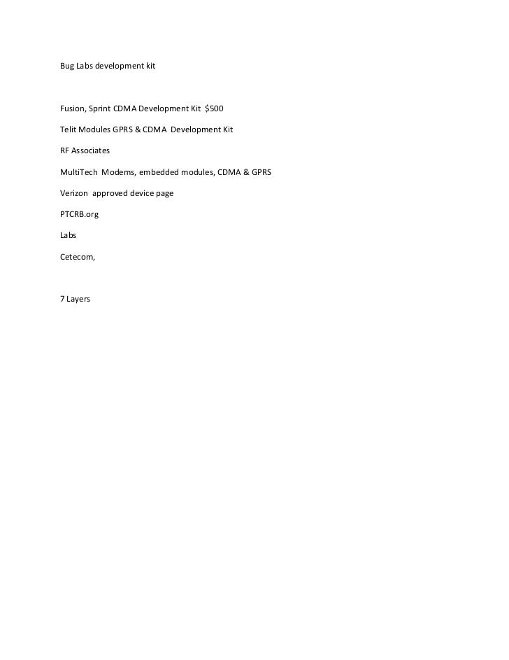 Bug Labs development kitFusion, Sprint CDMA Development Kit $500Telit Modules GPRS & CDMA Development KitRF AssociatesMult...
