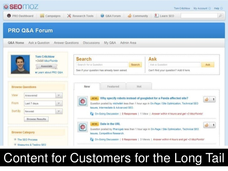 Content for Customers for the Long Tail