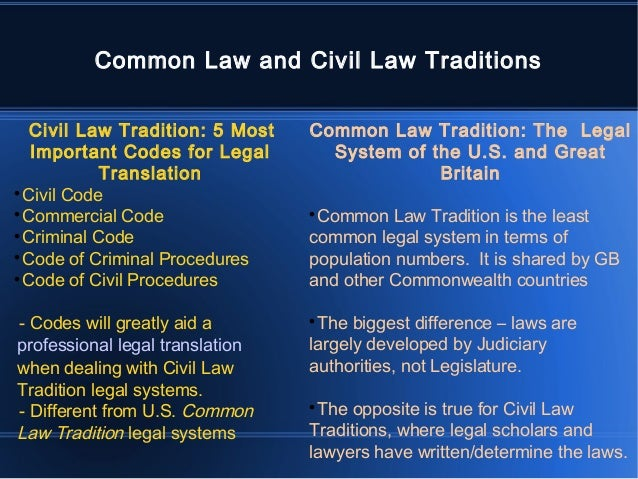 differentiate common law from civil law Learn the differences between common law and civil law, such as the role of a lawyer, and which countries are common law and which countries are civil law.