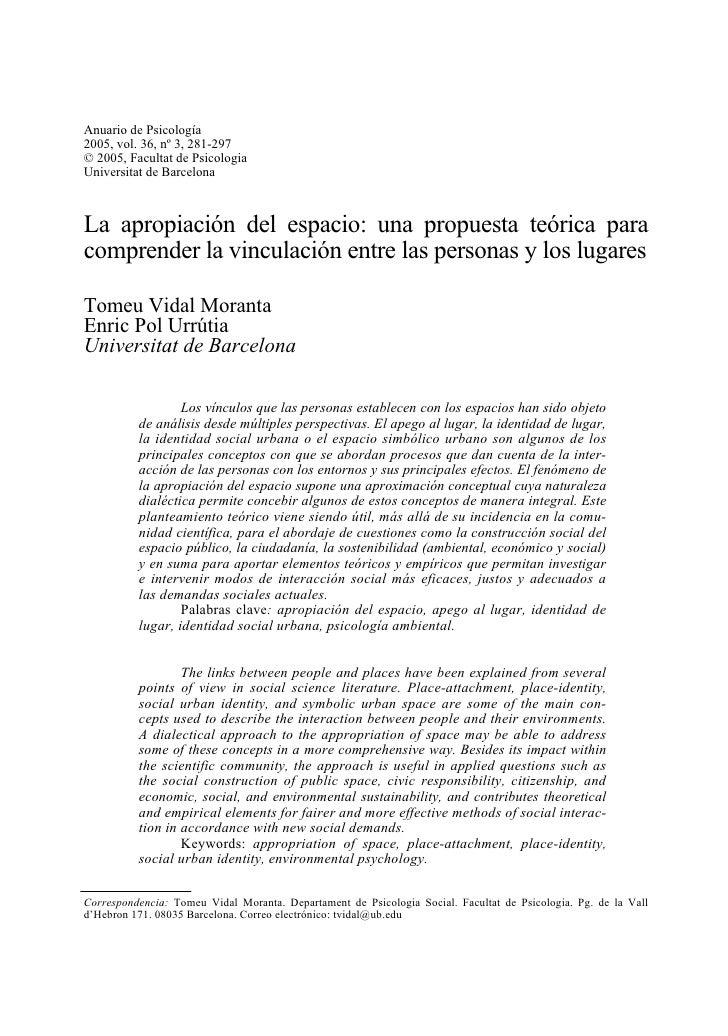 La apropiación del espacio: una propuesta teórica…                           281Anuario de Psicología2005, vol. 36, nº 3, ...