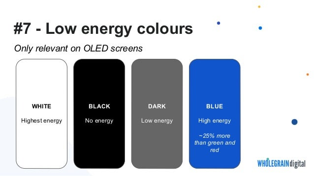 #7 - Low energy colours Only relevant on OLED screens WHITE Highest energy BLACK No energy DARK Low energy BLUE High energ...