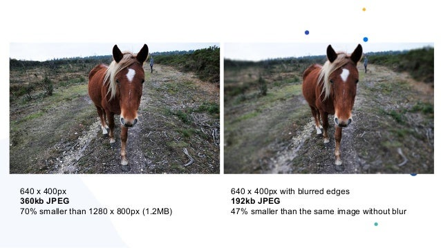 640 x 400px 360kb JPEG 70% smaller than 1280 x 800px (1.2MB) 640 x 400px with blurred edges 192kb JPEG 47% smaller than th...