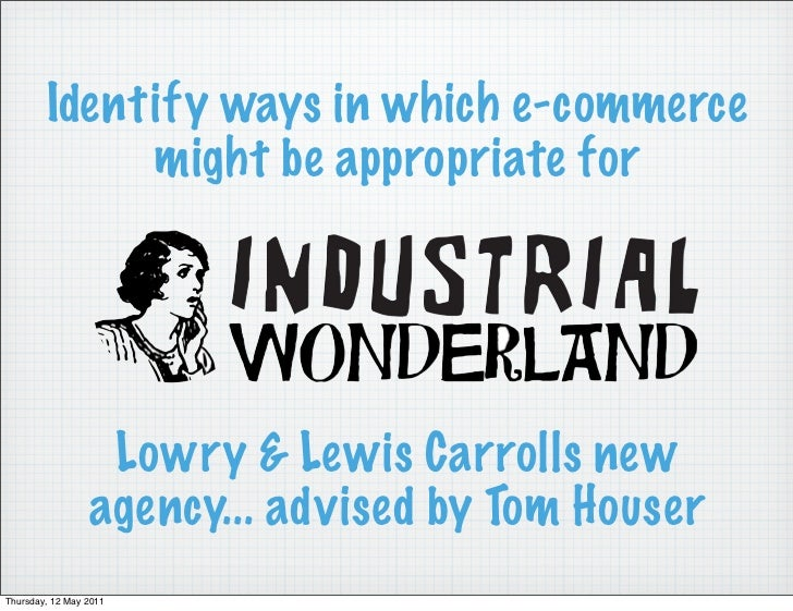 Identify ways in which e-commerce             might be appropriate for                  Lowry & Lewis Carrolls new        ...