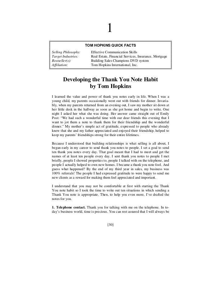 1                       TOM HOPKINS QUICK FACTSSelling Philosophy:        Effective Communication SkillsTarget Industries:...