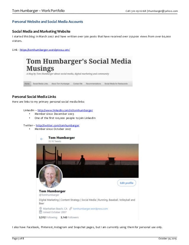 Tom Humbarger – Work Portfolio Cell: 310-291-6168 | thumbarger@yahoo.com Page 3 of 8 October 30, 2019 Personal Website and...