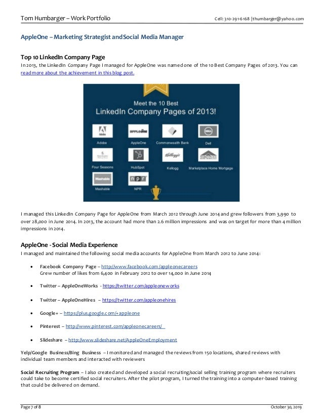 Tom Humbarger – Work Portfolio Cell: 310-291-6168 | thumbarger@yahoo.com Page 7 of 8 October 30, 2019 AppleOne – Marketing...