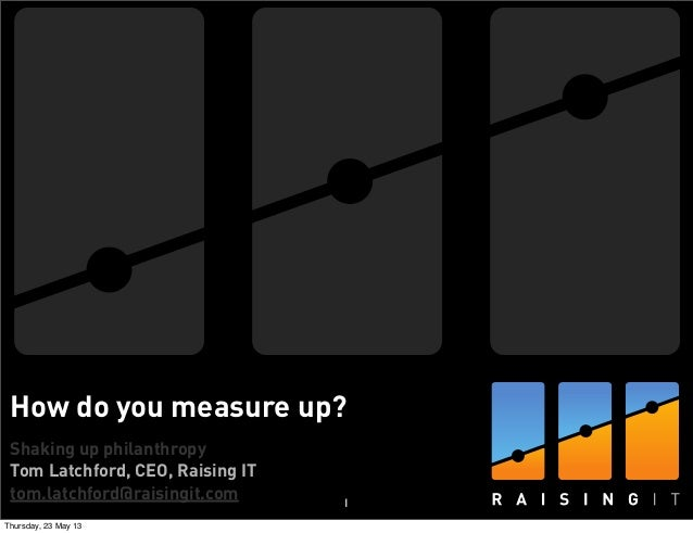 Shaking up philanthropyTom Latchford, CEO, Raising ITtom.latchford@raisingit.comHow do you measure up?1Thursday, 23 May 13
