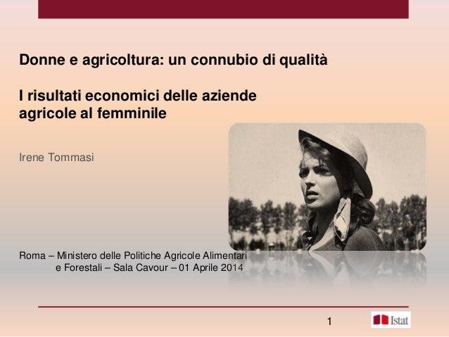 Donne e agricoltura: un connubio di qualità I risultati economici delle aziende agricole al femminile Irene Tommasi Roma –...