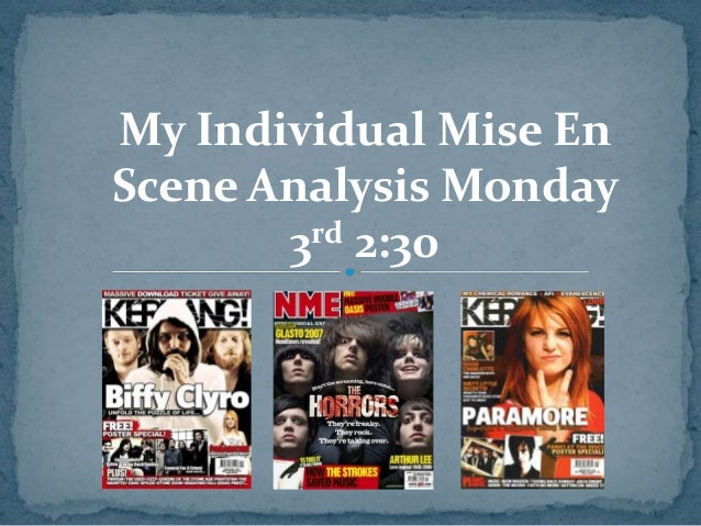 mis en scene analysis on Mise-en scene is the french word what means everything in the scene/frame the mise-en scene is used in order to set the scene and setting, it allows audiences to one establish the genre but two it allows the audience to have a certain expectation based on the genre.