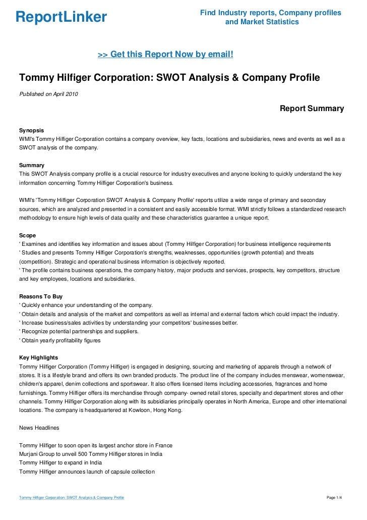 swot analysis for tommy hilfiger Tommy hilfiger strategic analysis tommy hilfiger – strategic analysis macintosh hd:users:vincenttiennot:desktop:griffith college: situation analysis swot.
