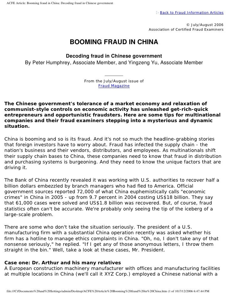 ACFE Article: Booming fraud in China: Decoding fraud in Chinese government                                                ...