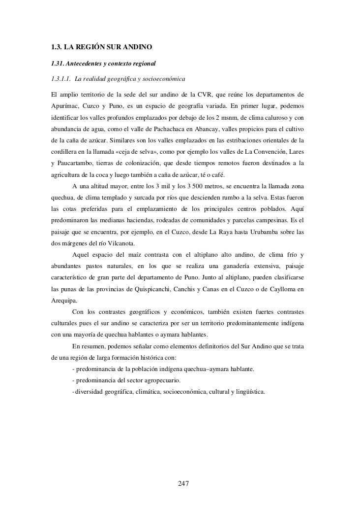 1.3. LA REGIÓN SUR ANDINO  1.31. Antecedentes y contexto regional  1.3.1.1. La realidad geográfica y socioeconómica  El am...