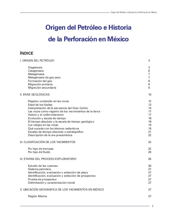 Origen del Petróleo e Historia de la Perforación en México                                                                ...
