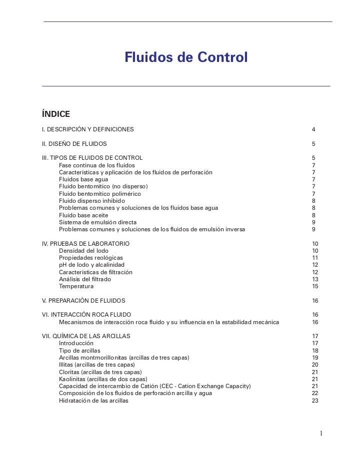 Fluidos de ControlÍNDICEI. DESCRIPCIÓN Y DEFINICIONES                                                             4II. DIS...