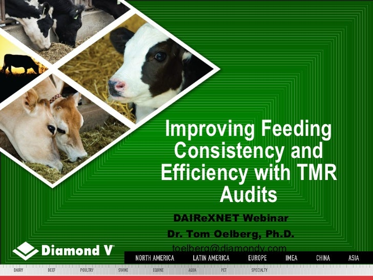 Improving Feeding Consistency and Efficiency with TMR Audits DAIReXNET Webinar Dr. Tom Oelberg, Ph.D. toelberg@diamondv.com