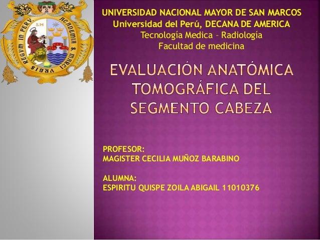 UNIVERSIDAD NACIONAL MAYOR DE SAN MARCOS  Universidad del Perú, DECANA DE AMERICA  Tecnología Medica – Radiología  Faculta...