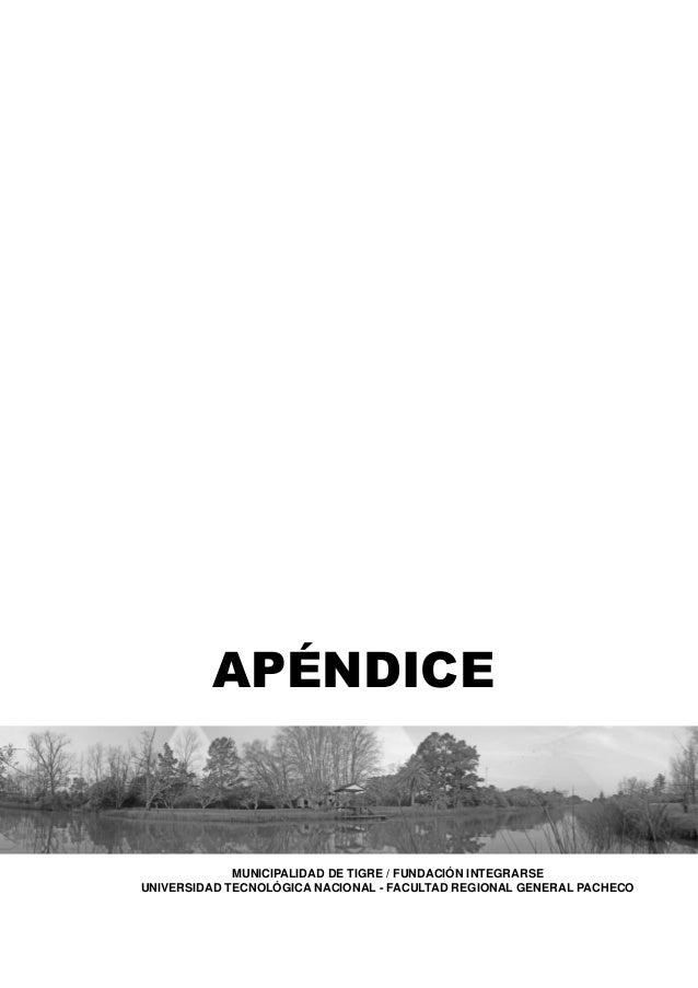 APÉNDICE  MUNICIPALIDAD DE TIGRE / FUNDACIÓN INTEGRARSE UNIVERSIDAD TECNOLÓGICA NACIONAL - FACULTAD REGIONAL GENERAL PACHE...