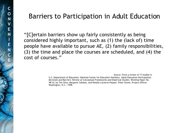 Source: From a review of 17 studies in U.S. Department of Education. National Center for Education Statistics.  Adult Educ...