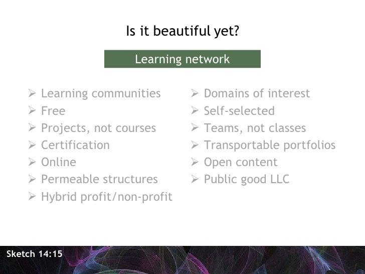 <ul><li>Is it beautiful yet? </li></ul>Sketch 14:15 Learning network <ul><li>Learning communities </li></ul><ul><li>Free <...