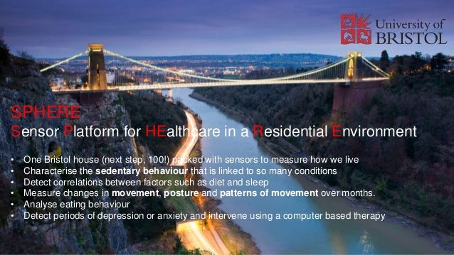 SPHERE Sensor Platform for HEalthcare in a Residential Environment • One Bristol house (next step, 100!) packed with senso...