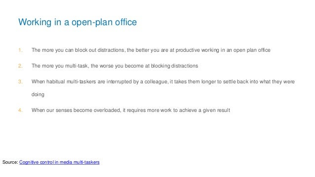Working in a open-plan office 1. The more you can block out distractions, the better you are at productive working in an o...