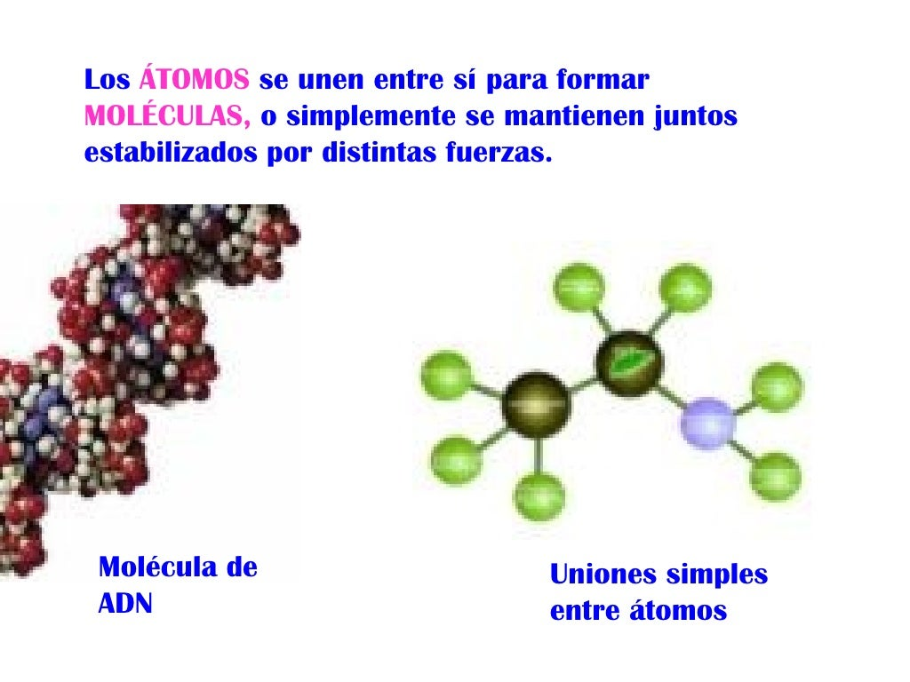 Resultado de imagen de Los átomos se juntan para formar moléculas