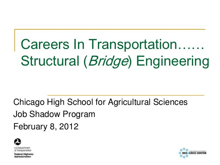 Careers In Transportation…… Structural (Bridge) EngineeringChicago High School for Agricultural SciencesJob Shadow Program...