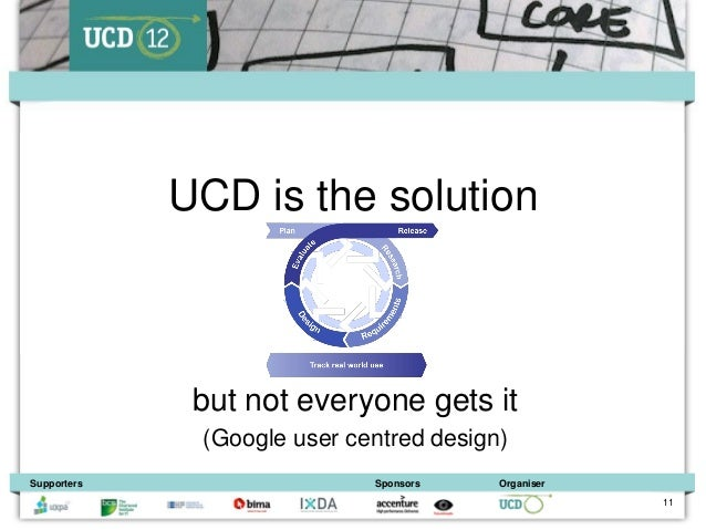 UCD is the solution              but not everyone gets it              (Google user centred design)Supporters             ...