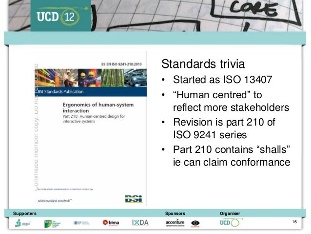 """Standards trivia             • Started as ISO 13407             • """"Human centred"""" to               reflect more stakeholde..."""