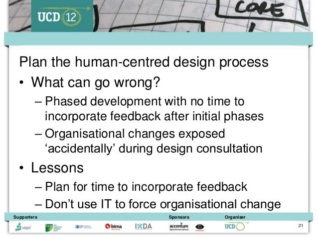 Plan the human-centred design process  • What can go wrong?         – Phased development with no time to           incorpo...