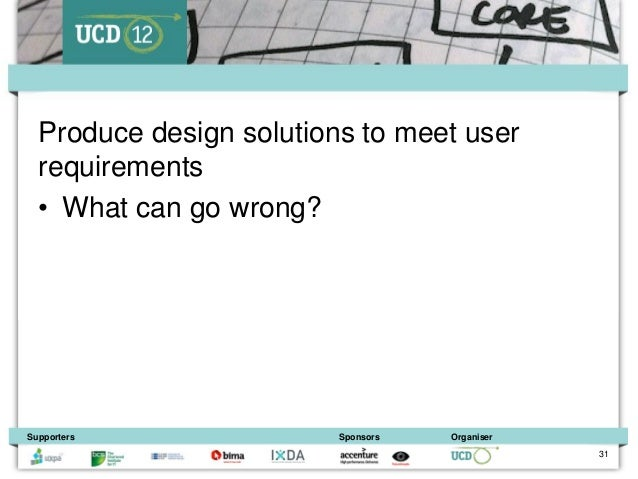 Produce design solutions to meet user  requirements  • What can go wrong?Supporters               Sponsors   Organiser    ...