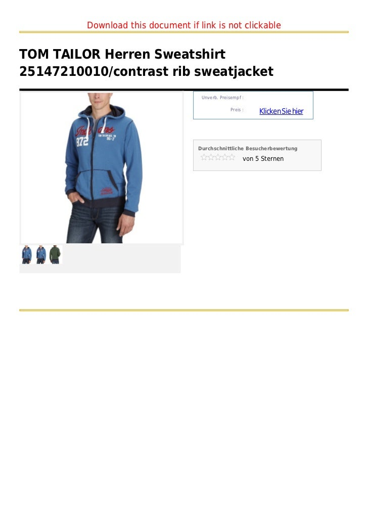 Download this document if link is not clickableTOM TAILOR Herren Sweatshirt25147210010/contrast rib sweatjacket           ...