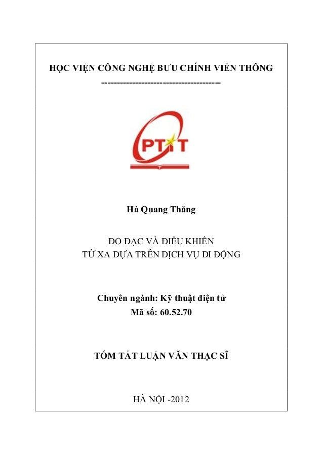 HỌC VIỆN CÔNG NGHỆ BƯU CHÍNH VIỄN THÔNG ---------------------------------------  Hà Quang Thăng  ĐO ĐẠC VÀ ĐIỀU KHIỂN TỪ X...