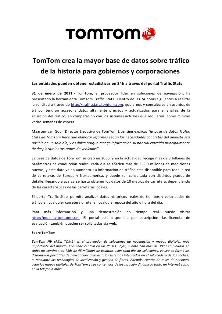 TomTom crea la mayor base de datos sobre tráfico  de la historia para gobiernos y corporacionesLas entidades pueden obtene...