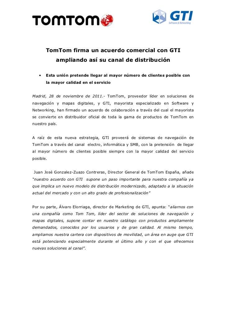 TomTom firma un acuerdo comercial con gti ampliando así su canal de distribución