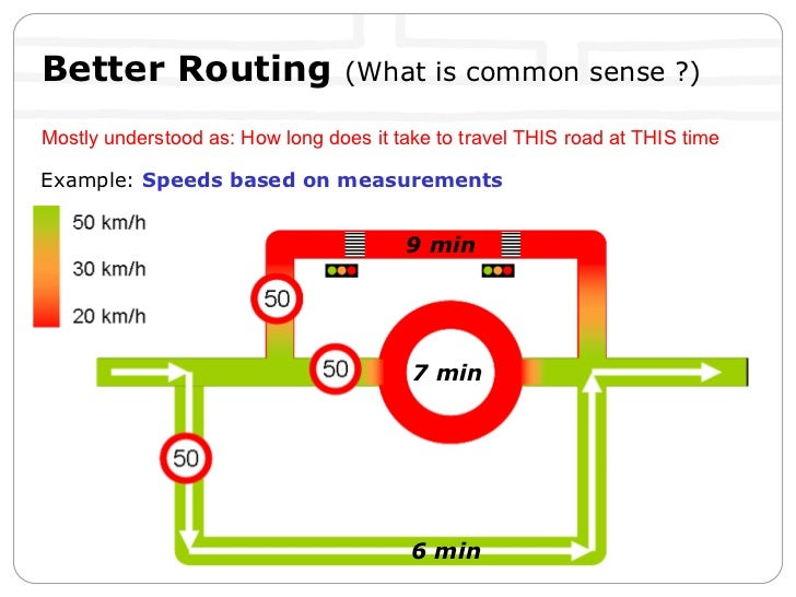 Example:  Speeds based on measurements Better Routing  (What is common sense ?) Mostly understood as: How long does it tak...