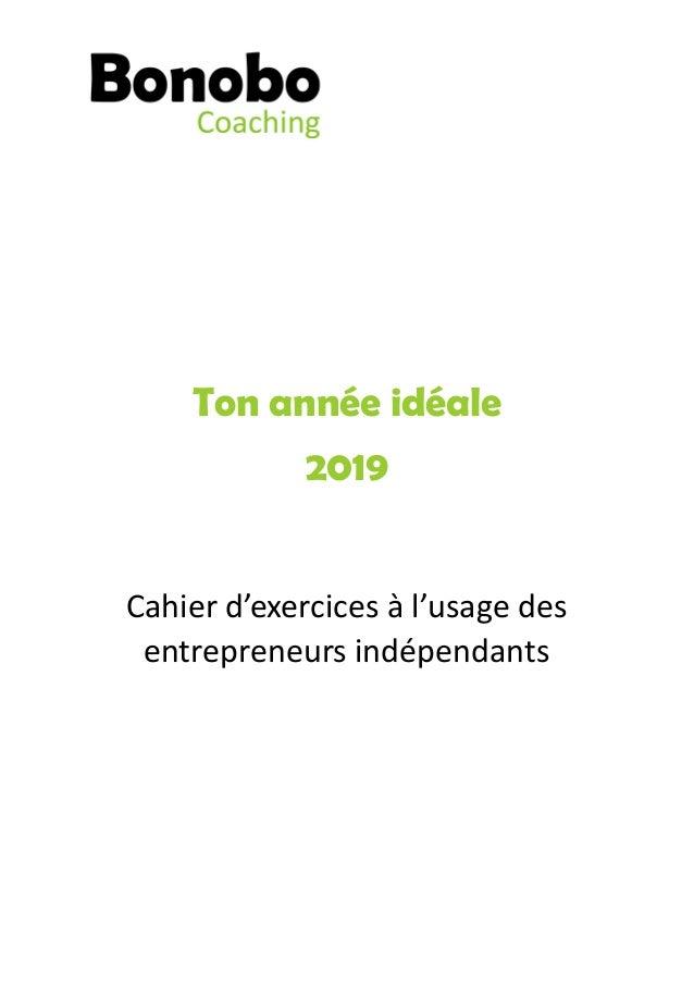 Ton année idéale 2019 Cahier d'exercices à l'usage des  entrepreneurs indépendants