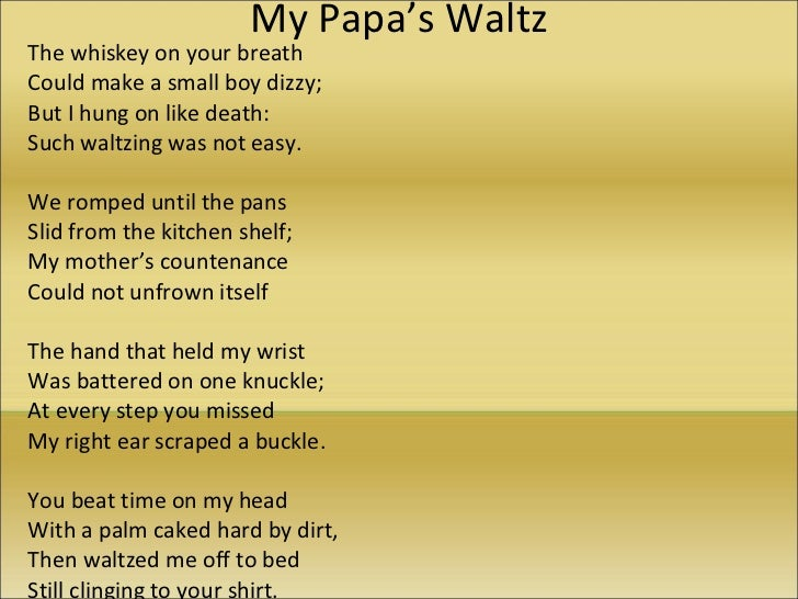 my papa s waltz poem explication