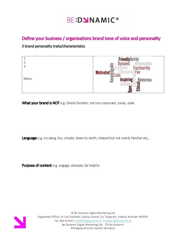 Brand Company Tone Of Voice Personality Template