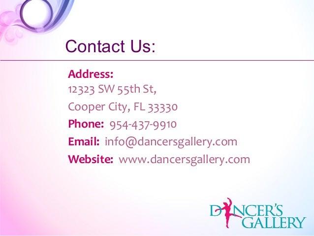 Address: 12323 SW 55th St, Cooper City, FL 33330 Phone: 954-437-9910 Email: info@dancersgallery.com Website: www.dancersga...