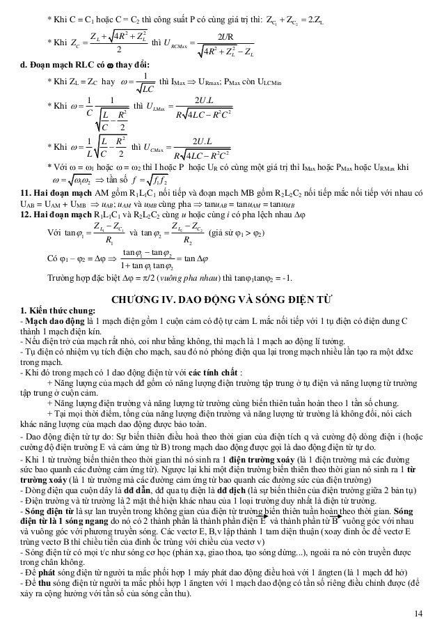 14 * Khi C = C1 hoặc C = C2 thì công suất P có cùng giá trị thì: 1 2C C LZ Z 2.Z  * Khi 2 2 4 2 L L C Z R Z Z    thì ...